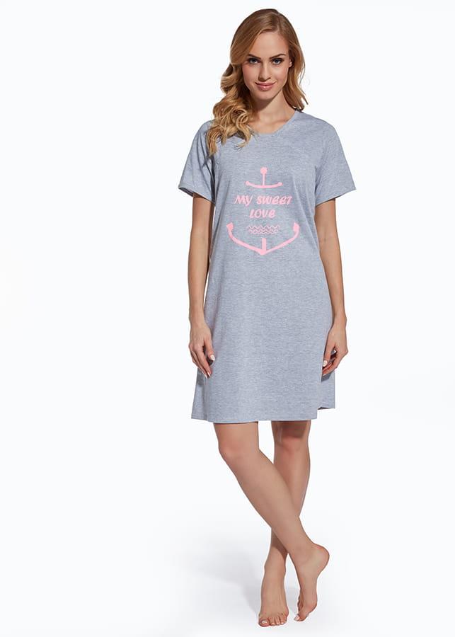 0bfd6e10d920b9 Koszula nocna ciążowa i do karmienia - Szary Melange